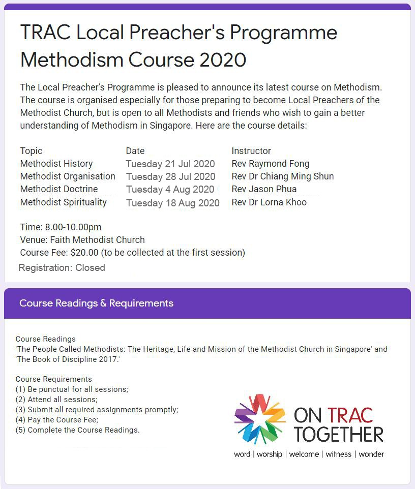 TRAC Course: Methodism