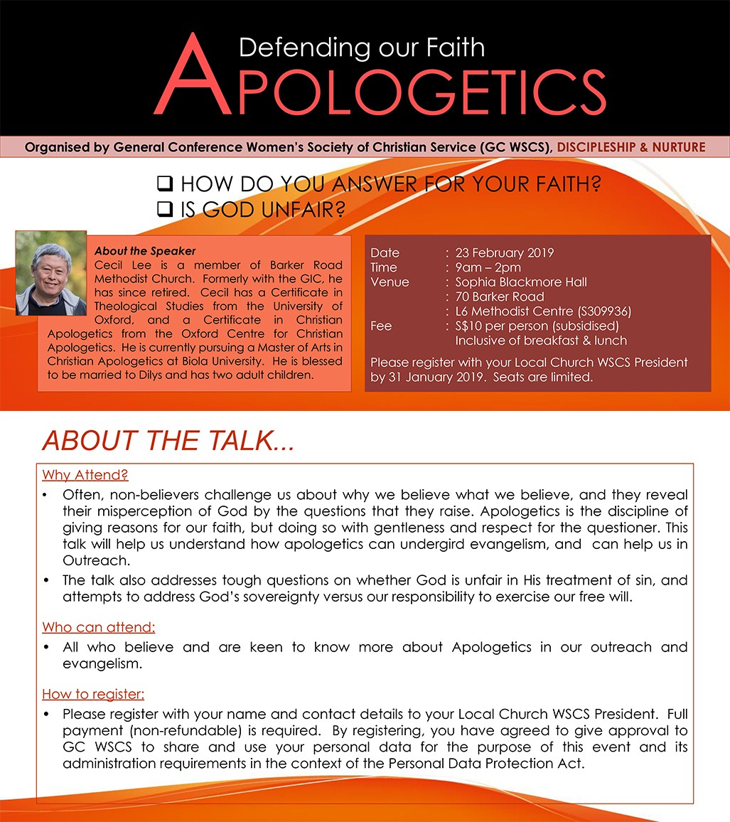 Apologetics: Defending Our Faith (GC WSCS)