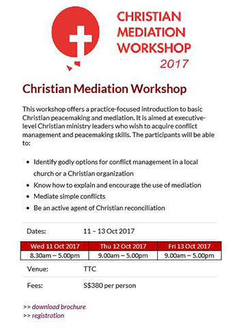 Christian Mediation Workshop 2017