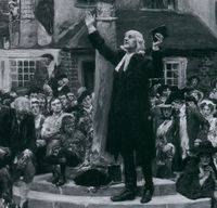 Wesley preaching in the market place